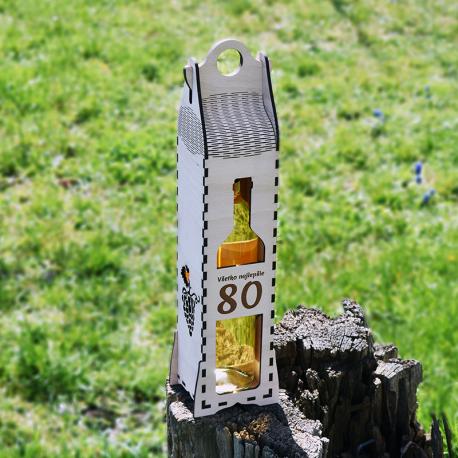 Krabica na víno - Všetko najlepšie 80 - DreveneDarceky.sk